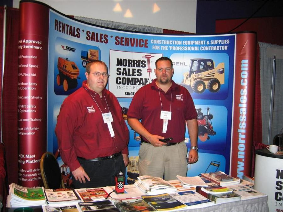 Paul Vaughn (L), Gehl product specialist, and Robert Traenkner, sales representative, both of Norris Sales Company, Sickerville, N.J., stand ready to discuss Gehl skid loaders and much more, including equipment from Multiquip, Wacker Neuson and Stone to n