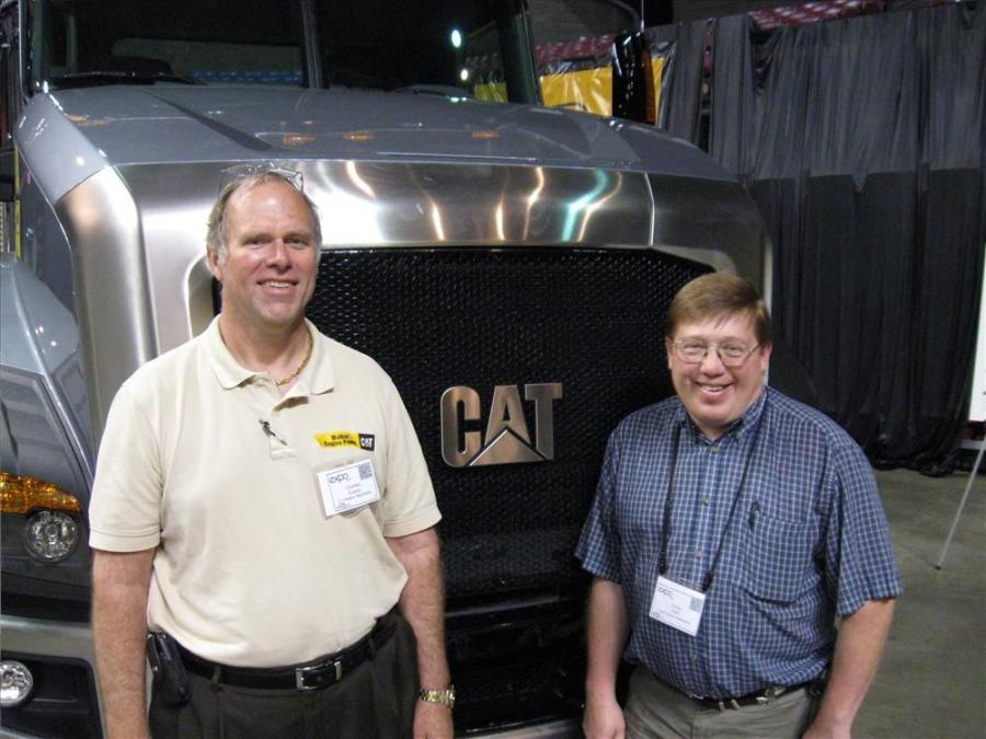 Charles Evans (L) and Rocky Peck of Cecil Walker Machinery were pleased to present Cat's new CT660 vocational truck at the show.