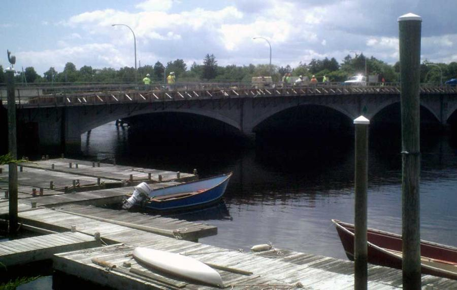 The new Barrington River Bridge as seen from the local boat yard. It will be open by summer's end after five years of construction. Workers from Shire Bridge Construction of Johnston, R.I., can be seen on the span.