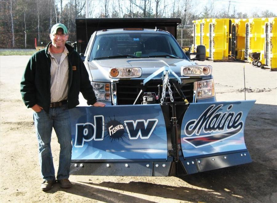 "Walter Gogan won a custom-painted ""Plow Maine"" Fisher XtremeV snowplow."