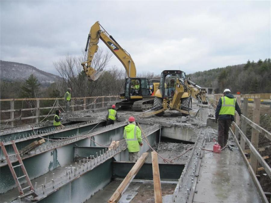 Vermont Agency of Transportation photo. Crews remove the bridge deck.