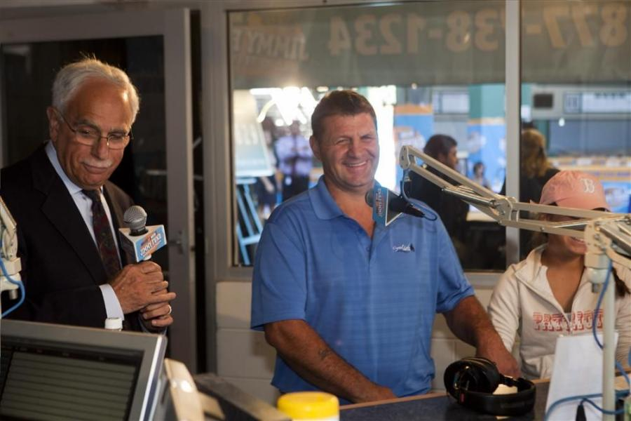 Contractor and cancer survivor Frank Annaldo (C), and his gastrointestinal oncologist, Dr. Robert Mayer of the Dana-Farber Cancer Institute in Boston, at the WEEI Studio at Fenway Park during the Jimmy Fund Radiothon in August.