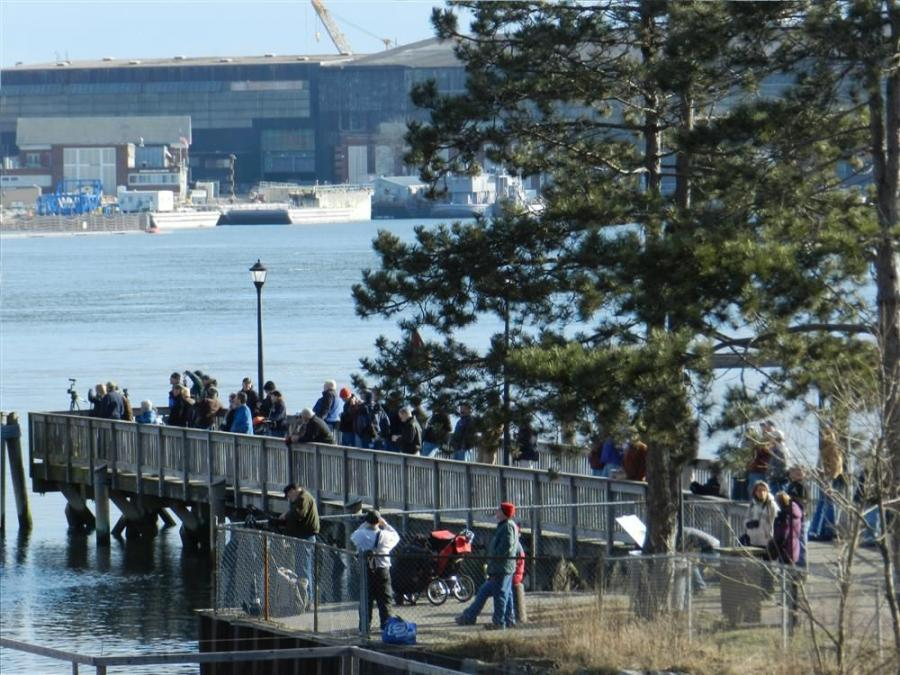 Photo courtesy of Dennis McIntire, Rye, N.H. The day of the center span float out, many spectators gathering to watch, even in freezing temperatures.