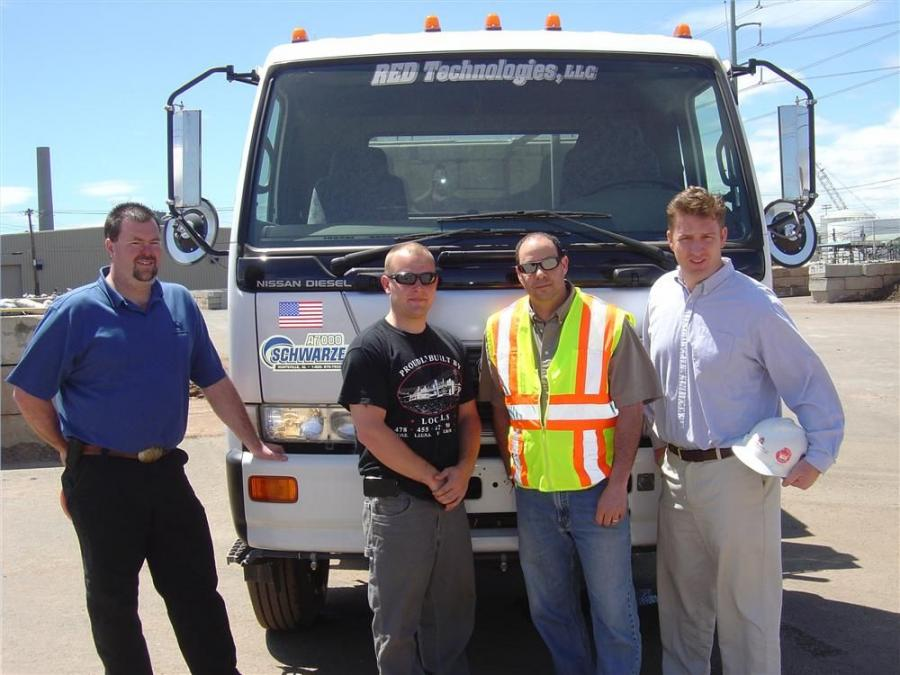 (L-R) are Greg Hurlburt, W.I. Clark sales representative; Robert Ragauskas, operator; David Costanzo, RED Technologies sales and logistics manager; and Adam Westhaver, RED Technologies vice president.