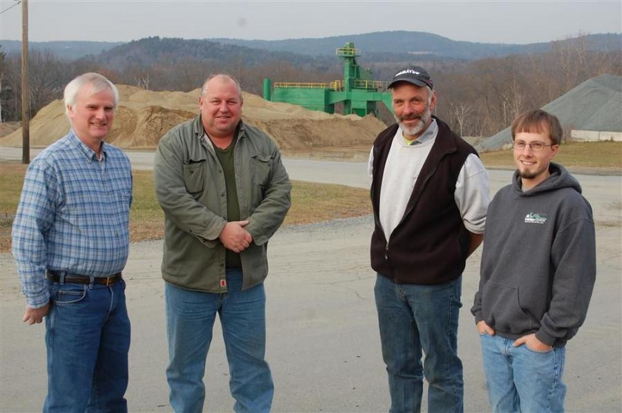(L-R) are Bud Ames, president of Twin State Sand & Gravel; Richard Zibell, sales representative of Equipment East; Jim Benjamin, plant superintendent; and Seth Ames, special projects manager.