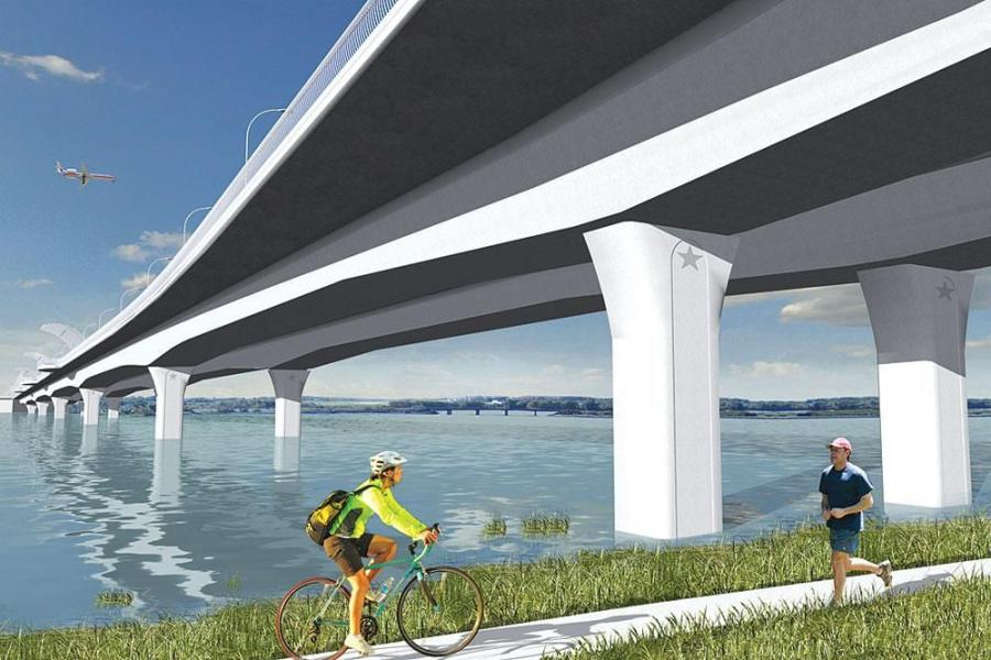 Rendering of the completed Veteran's Memorial Bridge