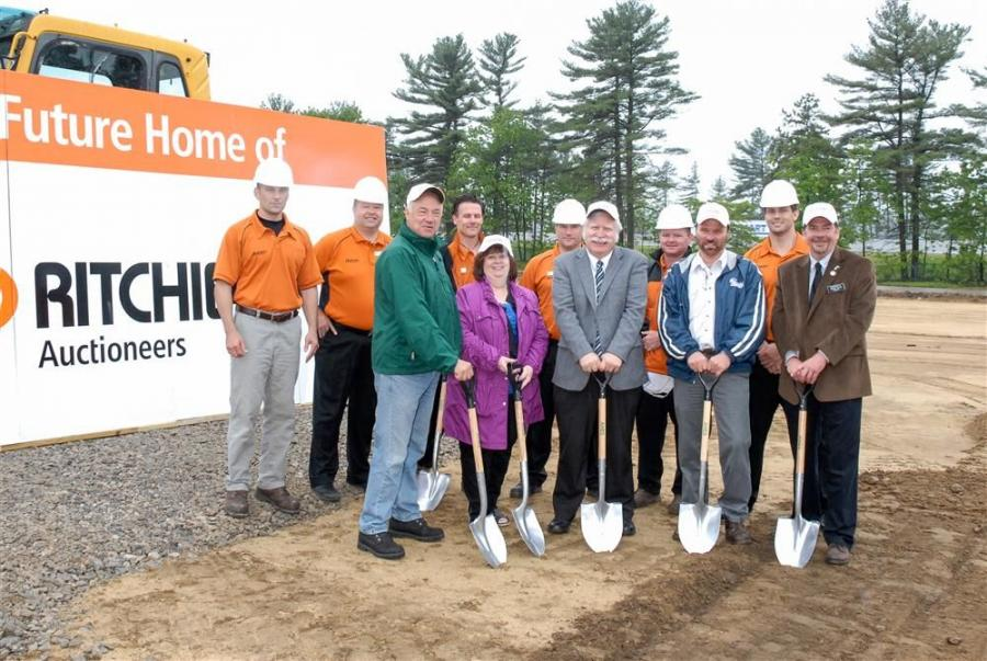 (L –R, front row) are: Donald Winterton, planning board; Jo Ann Duffy, town planner; Dean Shankle, town administrator; Leo Lessard, public works director); and Tom Walsh, planning board. (L–R, back row) are: Tad Kane, Ritchie Bros. territory m