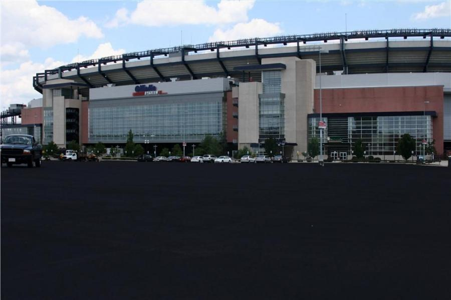 Major projects have included sealcoating and repairing the massive parking lots around Gillette Stadium, home of the New England Patriots and the New England Revolution in Foxboro, Mass.