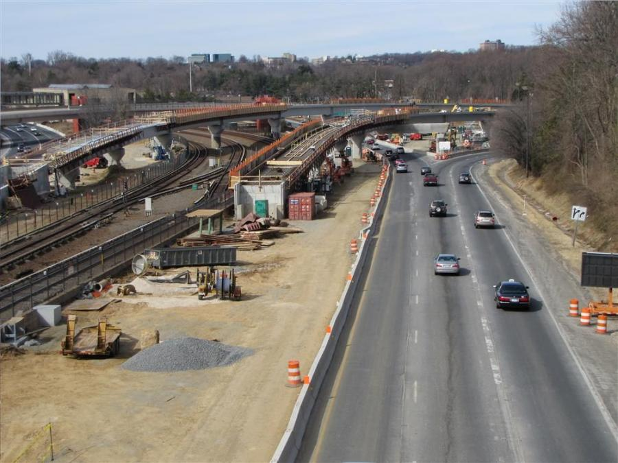 Shown here is construction of the Dulles Corridor Metrorail Extension near the tie-in for the new line with Metro's existing Orange Line at Interstate I-66 and the Dulles Connector Road.