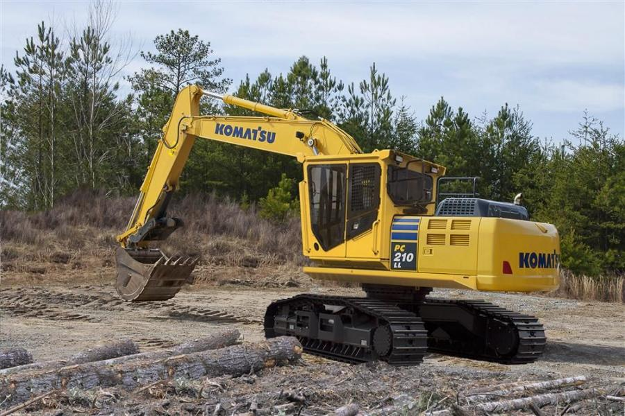 This newest addition to Komatsu's Dash-10 series of Log Loaders has a flywheel horsepower of 158 HP (118 kW) and weighs 65,118 pounds (29,537 kg) in Road Builder configuration.