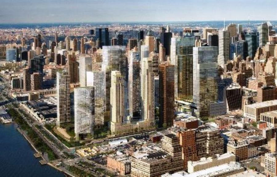 Image courtesy of Hudson Yards Redevelopment.  An artist's conception of the completed Hudson Yards project, as conceived as of 2011.