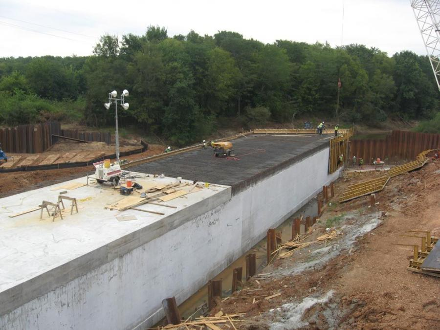 McCain Creek Bridge replacement project's southwest quadrant box, which is the first of four stages to be worked on.