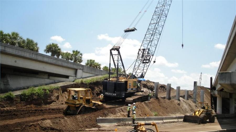 With three bridges being demolished and reconstructed there are a number of cranes on site. Leware Construction is FDOT's bridge subcontractor and they exclusively utilize American crawler cranes maintained by its in-house staff.