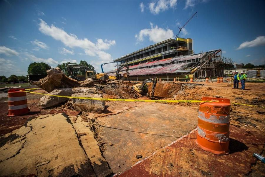 Taylor Slifko, APSU photo 1 Despite a sizable sinkhole that surfaced during construction, the $19 million renovation of Governors Stadium at Austin Peay State University in Clarksville, Tenn., is still on schedule.