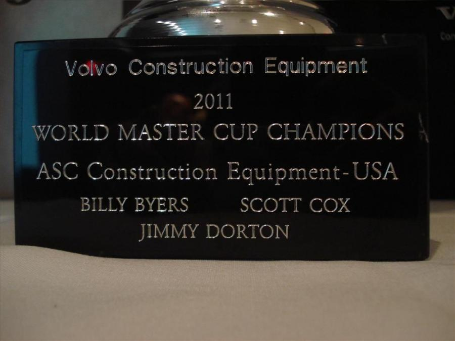 The engraved plaque in the Masters trophy.