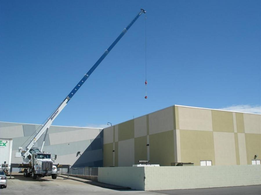 The operator uses Manitex 40124SHL owned by Boom Truck Service to lift a compressor at Concord Mills in Concord, N.C.