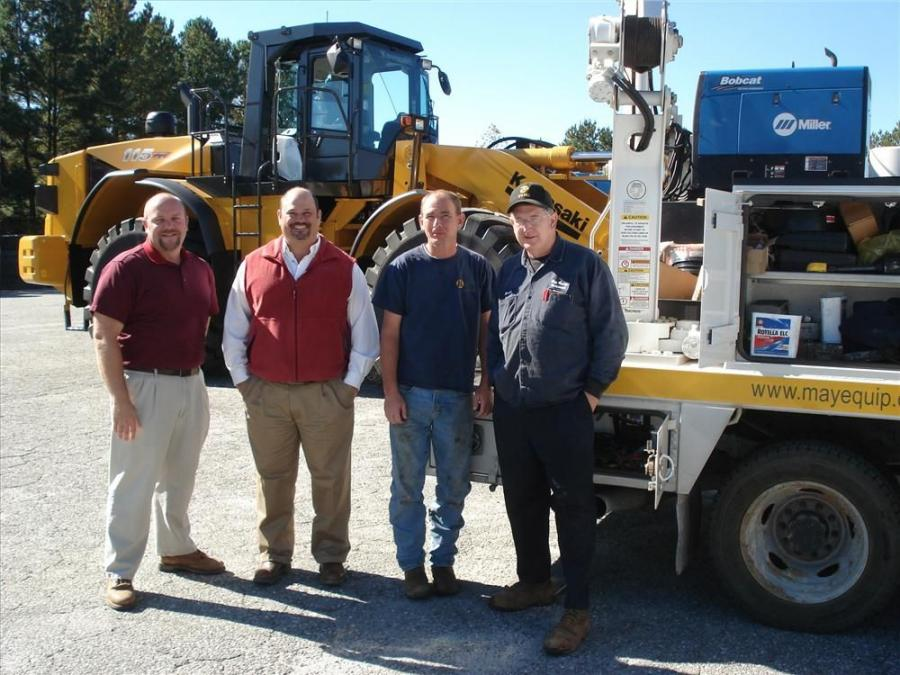 May Heavy Equipment performs the pre-delivery of the first Kawasaki 115 Z7 wheel loader sold in the Carolinas. (L-R) are Jeff Pitzer, Richie Ambrose, Stephen Neal and David Scoggins.