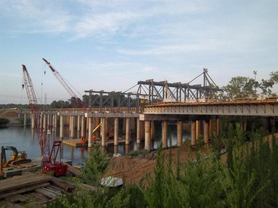 Crews Use Creative Means to Set Girders Over the Catawba