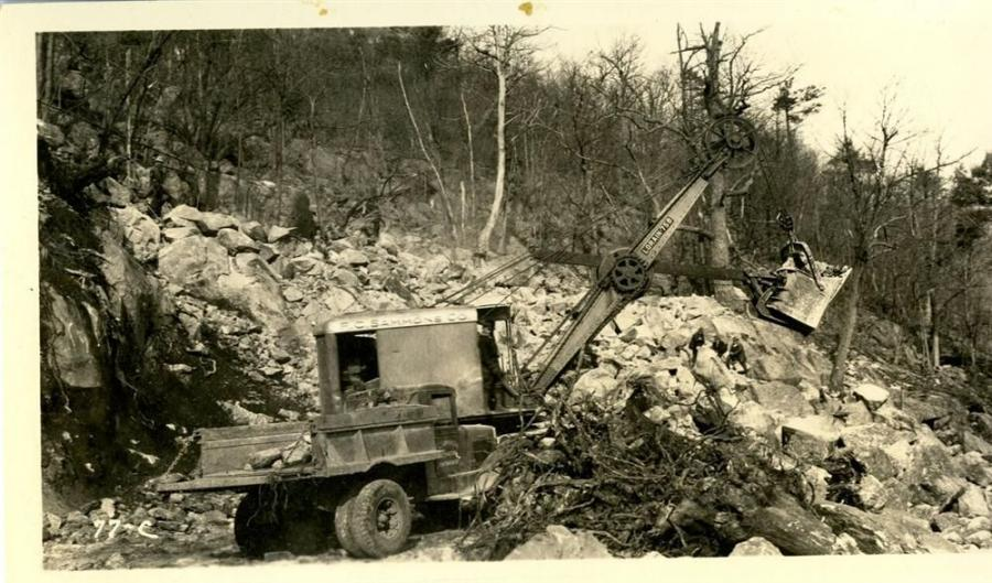 In 1931, crews work near the south tunnel portal.