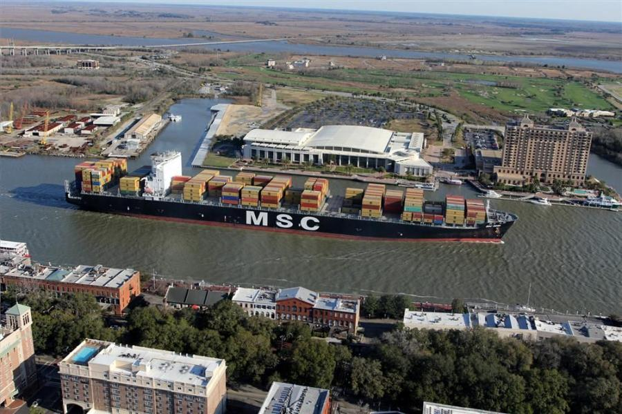 The MSC vessel leaves the Garden City Terminal and passes through the city of Savannah on its way out (going past River St.).
