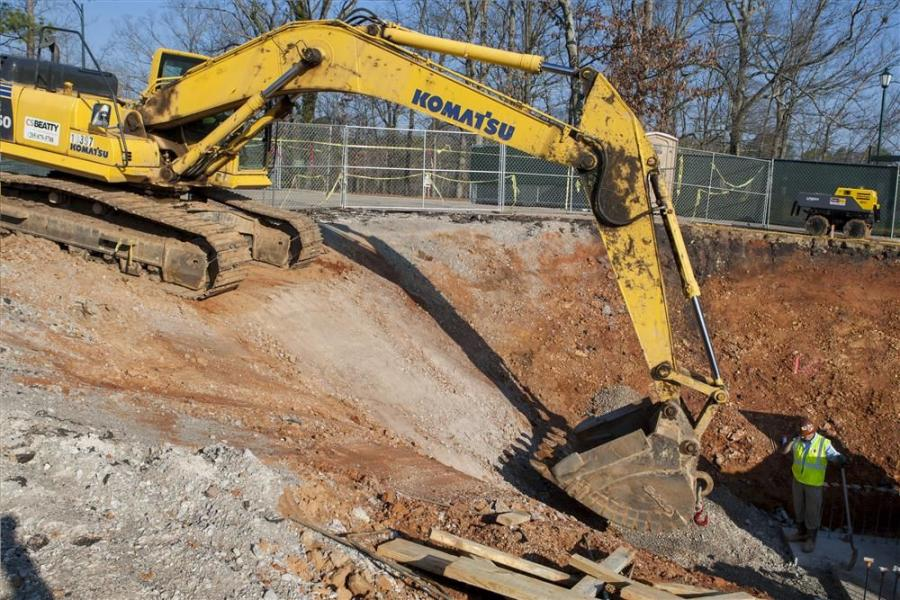 There are currently several excavators in use installing utilities.
