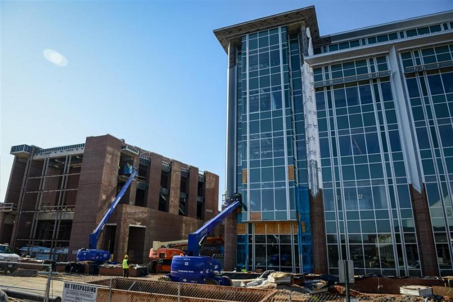 Office of University Relations, University of Tennessee at Chattanooga photo Equipment used on the project has included backhoes, boom lifts, lulls, track hoes and two tower cranes.