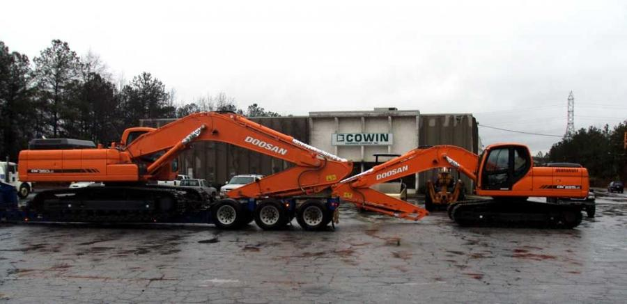 In Atlanta, trucks roll in and off-load the initial stock of Doosan machines to Doosan's newest dealer, Cowin Equipment Company.