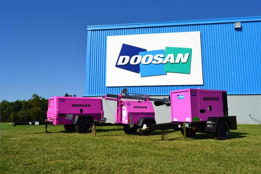 A newly branded P185 air compressor, G25 mobile generator and LightSource Compact (LSC) light tower have been painted pink to raise breast cancer awareness within the industry and support the Charlotte Affiliate of Susan G. Komen For the Cure.