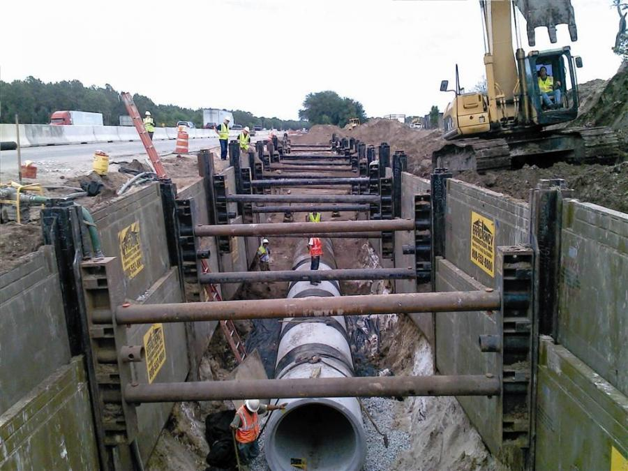 Naples, Fla., based Haleakala Construction is subcontracted by Better Roads Inc. to install more than 1.5 mi. (2.4 km) of RCP storm sewer along a busy stretch of Interstate 75 near Tampa.  The excavation is less than 25 ft. (7.6 m) from the expressway.
