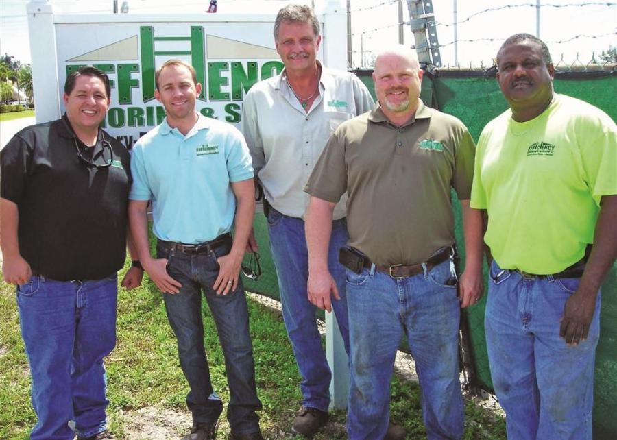 The Efficiency Shoring & Supply Miami Branch staff (L-R) David Diaz, Jeremy Horne, Branch Manager Mike Hemenway, David Roach and James Allen, transportation specialist.