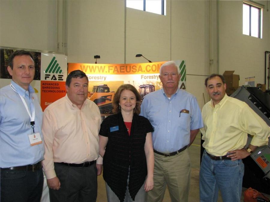 (L-R): Giorgio Carera, CEO of FAE USA Inc.; Stan Brown, city manager of the city of Oakwood, Ga.; Shelley Davis, vice president-existing industry for the Greater Hall Chamber of Commerce; Lamar Scroggs, mayor of the city of Oakwood, Ga.; and Alex Mussa, a