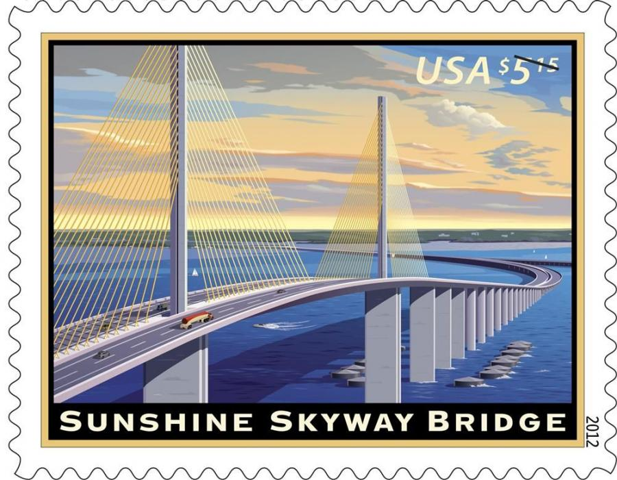 The U.S. Postal Service recognized the 25th anniversary of Florida's Sunshine Skyway Bridge by issuing the $5.15 Sunshine Skyway Bridge Priority Mail stamp.