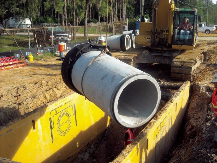 RIPA installed several types of RCP pipe for water, and sanitary and storm sewer. The largest diameter pipe is 72 in. (183 cm) in 10 ft. (3 m) lengths.