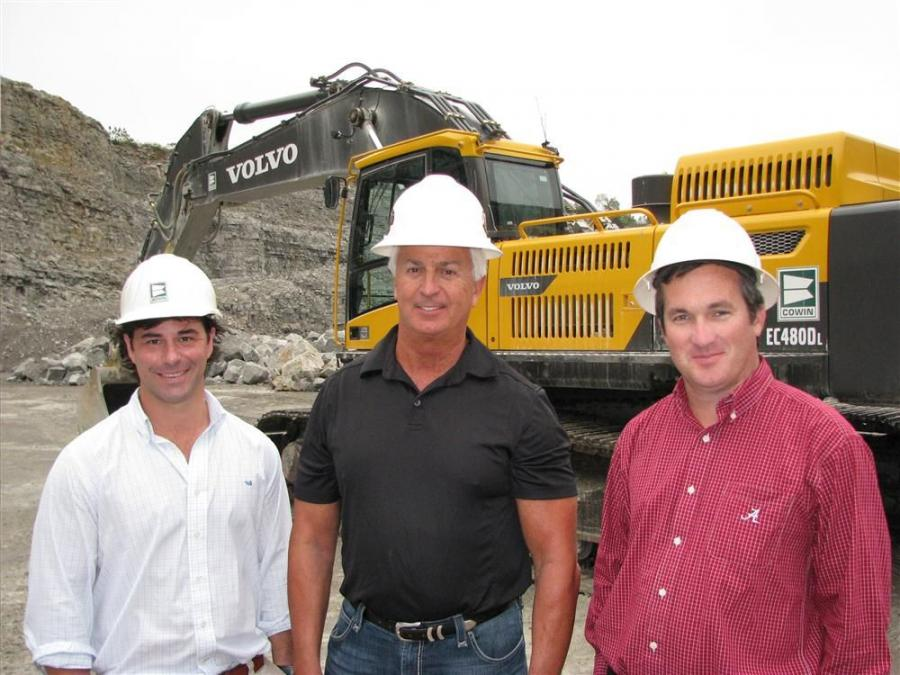 (L-R): Jay Rousey, sales representative of Cowin Equipment; Ray Henry, Blount Springs Materials; and Richard Brown, Good Hope Contracting, meet to discuss the performance of one of the new Volvo excavators.