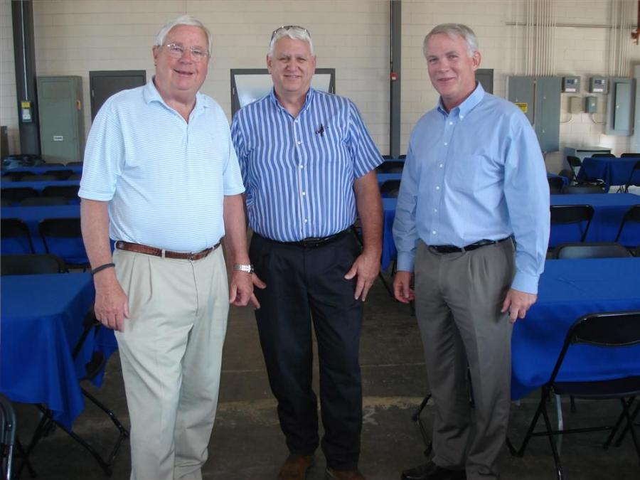 (L-R): Stewart Johnson, chairman of Morgan Corp. in Spartanburg, S.C.; Rich Zivitski of Morgan Corp.; and John Coughlin, president of Linder Industrial Machinery, talk about the day's activities.