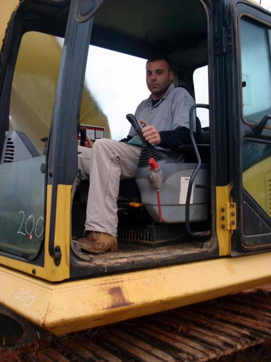 Hunter Hemp of Virginia Equipment Distributors in Orange, Va., tested out this Komatsu excavator. Kemp liked the feel of the hydraulics and was pleased with the undercarriage on the machine so he planned to bid on it.