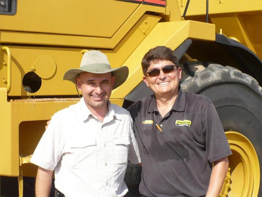 Jose Breindehbach (L) and Oscar Gomez of Cadeci International Corp. took a good look at this Caterpillar D400E.