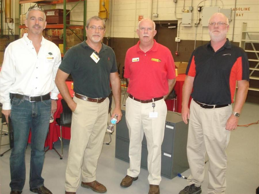 (L-R) are Jeff Campbell of AME Inc; Keith Ernandez, United Contractors; Jim Mackinson, Pinnacle Cranes; and David Peters; Link-Belt.