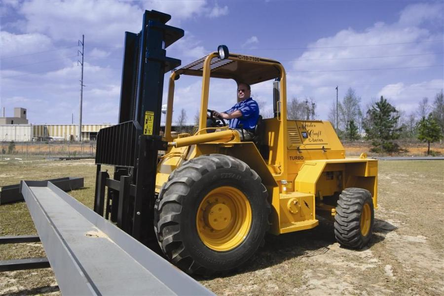 Comprised of more than 70 percent Caterpillar parts, Master Craft's C-Series rough-terrain forklifts are essentially straight mast units mounted on backhoe loaders, and run on the powertrain and axles of a Cat 416E.