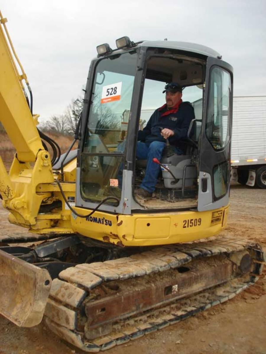 Michael Snelson of Diamond S. Electric in Asheville, N.C., tried out this Komatsu PC78 excavator. Snelson needed an excavator in this size range for several projects he just won.