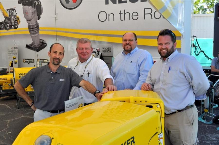 "Wacker Neuson's ""On the Road"" presentation came to the party with (L-R) Seth Waller, district manager; Doug Anderson, product solution specialist — concrete; Jim Rein, regional manager; and Wes Watkins, product solution specialist"