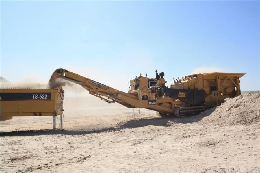 The track crusher features a fixed, Hardox hopper with a 15-cubic-yard capacity.