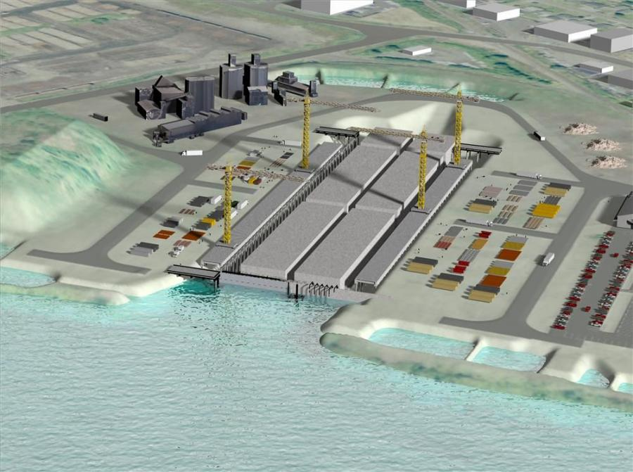 A conceptual image of the proposed pontoon casting basin in Aberdeen, Wash., on Grays Harbor, shows facilities that would produce 33 concrete pontoons for emergency replacement of the SR 520 floating bridge.