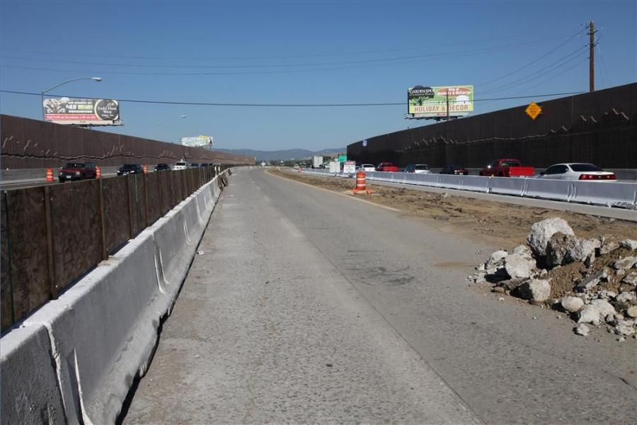 Rail and sign demolition was completed to accommodate I-80 eastbound traffic.
