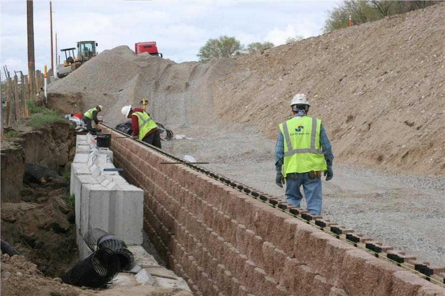 Slaton Bros. of Centennial, Colo., constructed a retaining wall for this notoriously wet section of land.