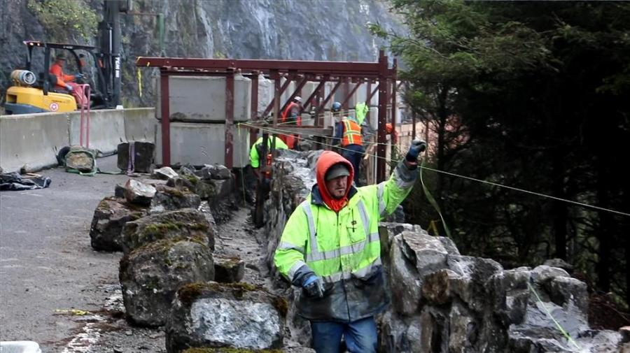 Restoration work is underway on a historic wall along the designated scenic Highway 101 on the Oregon Coast that was originally constructed in 1932.