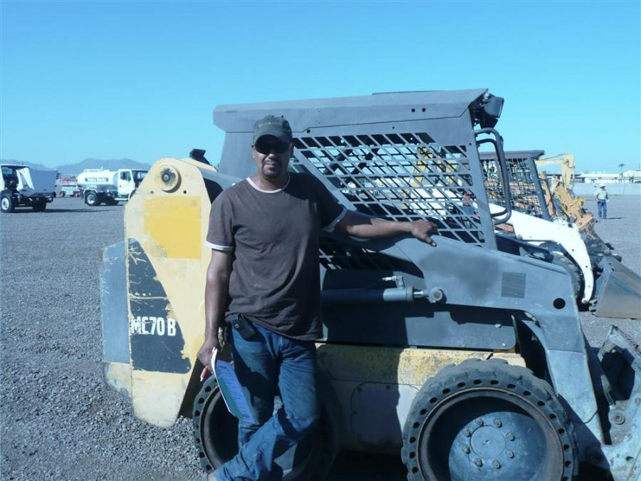 Nicolos Abalos, owner of NA & Sons Welding in Apache Junction, Ariz., is looking to add this Volvo MC70 skid steer loader to his fleet.