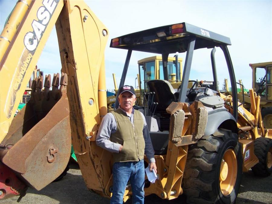 Victor Ritchie of Victor and Victor had the winning bid on a Case 580M Series II 4x4 loader backhoe and is ready to export to Mexico.