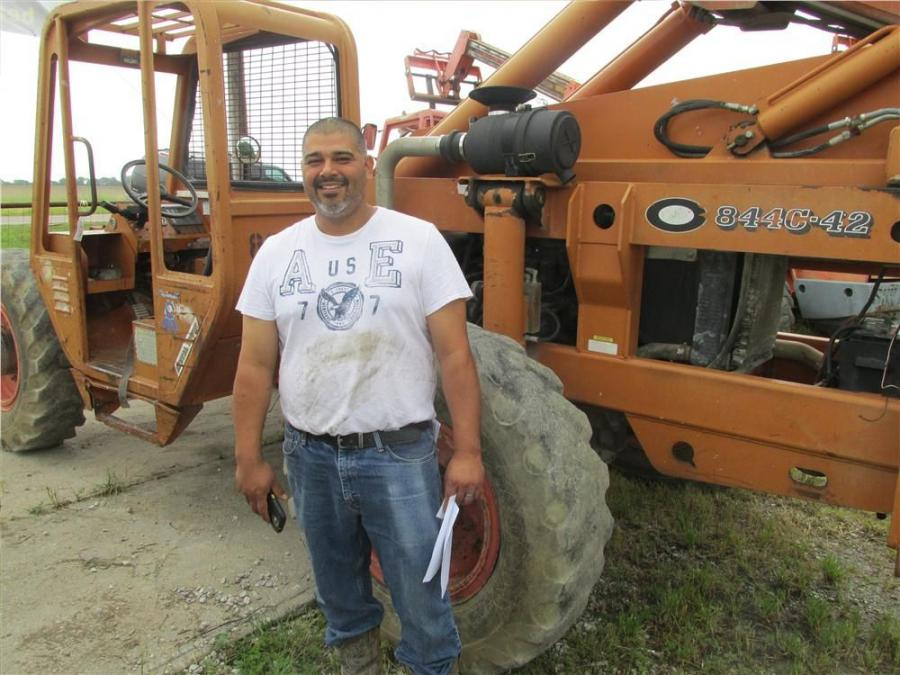 Junior Martinez of Latinos Readymix in Dallas, Texas, is interested in this LULL 844C.42 highlift.