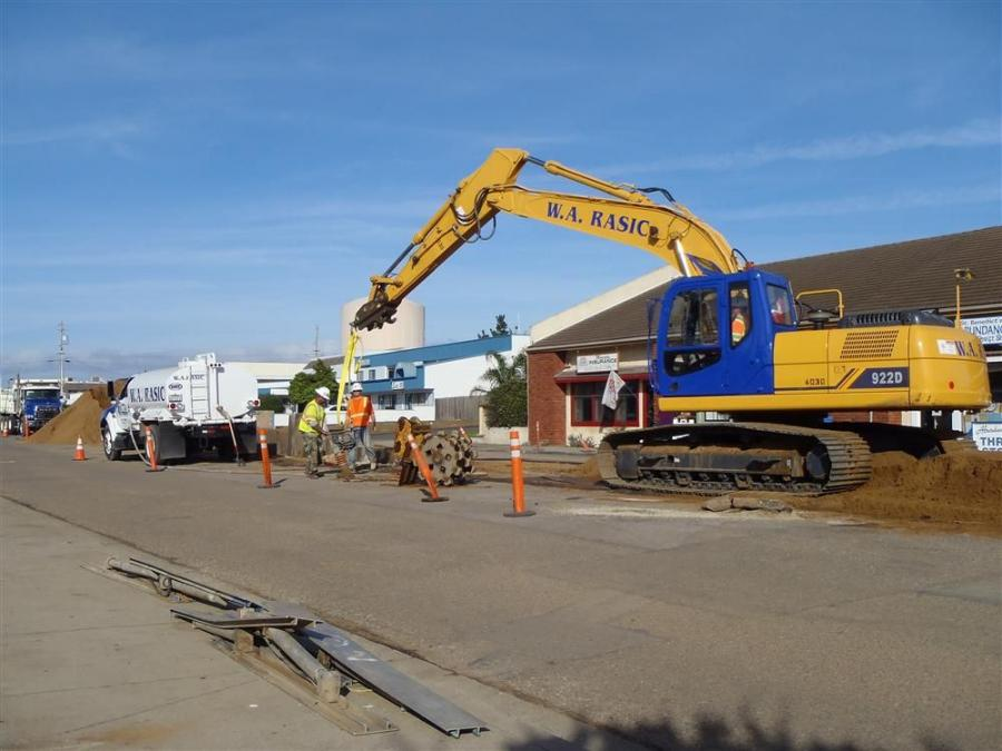 For the Los Osos project, W.A. Rasic Construction needed two excavators and two wheel loaders. The firm purchased a 922D 50,500-lb. excavator (shown) and a 915D 31,460-lb. excavator.